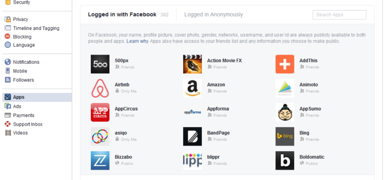 Logged in with Facebook Apps list